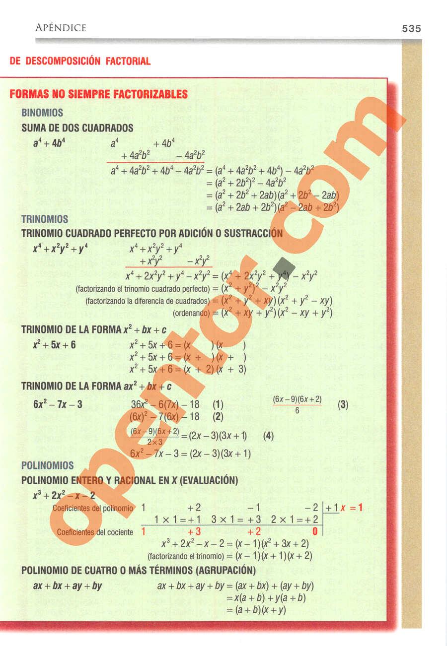 Álgebra de Baldor - Página 535