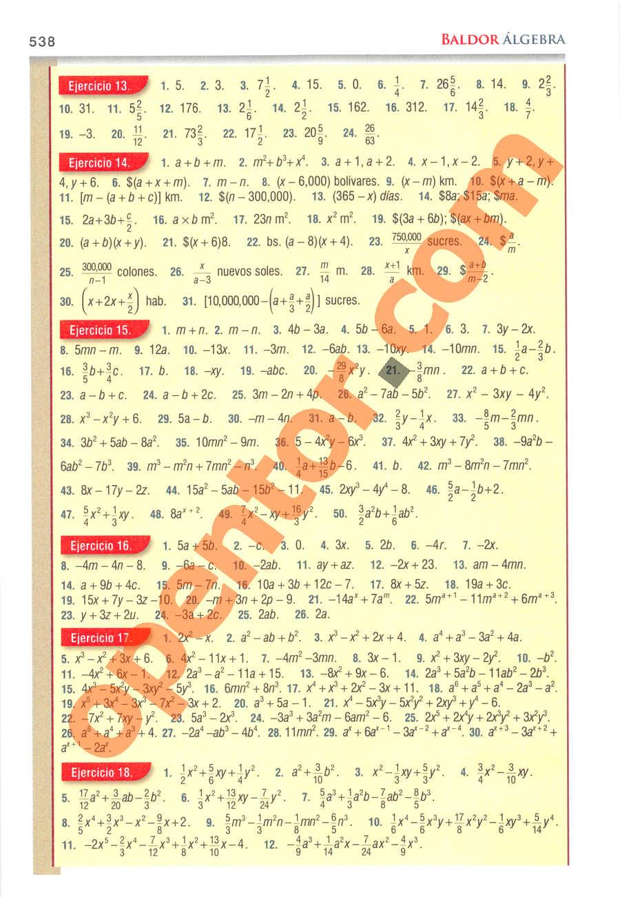 Álgebra de Baldor - Página 538