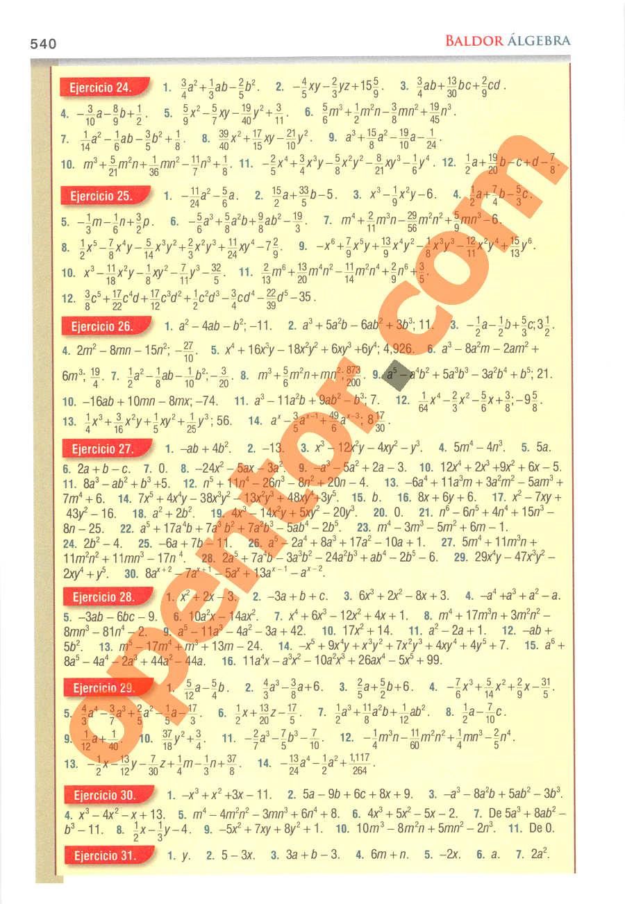 Álgebra de Baldor - Página 540