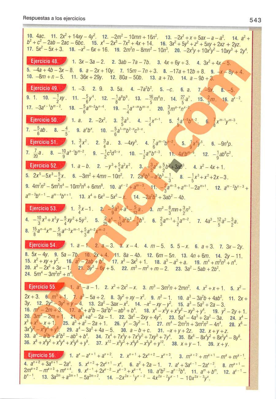 Álgebra de Baldor - Página 543