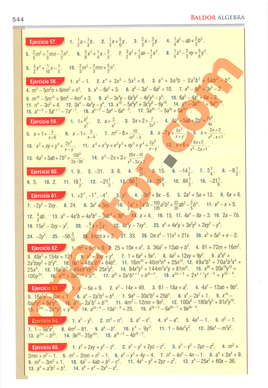 Álgebra de Baldor - Página 544