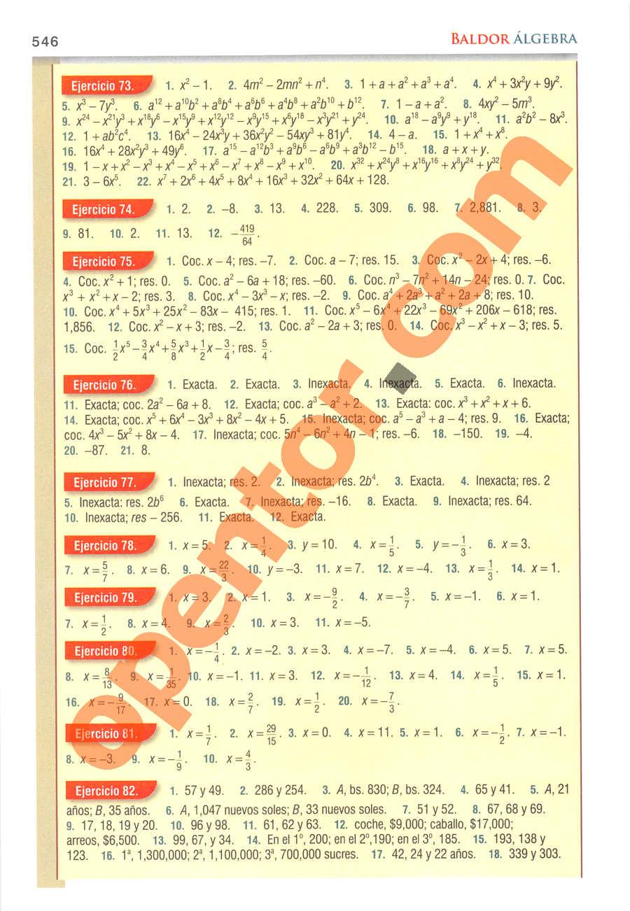 Álgebra de Baldor - Página 546