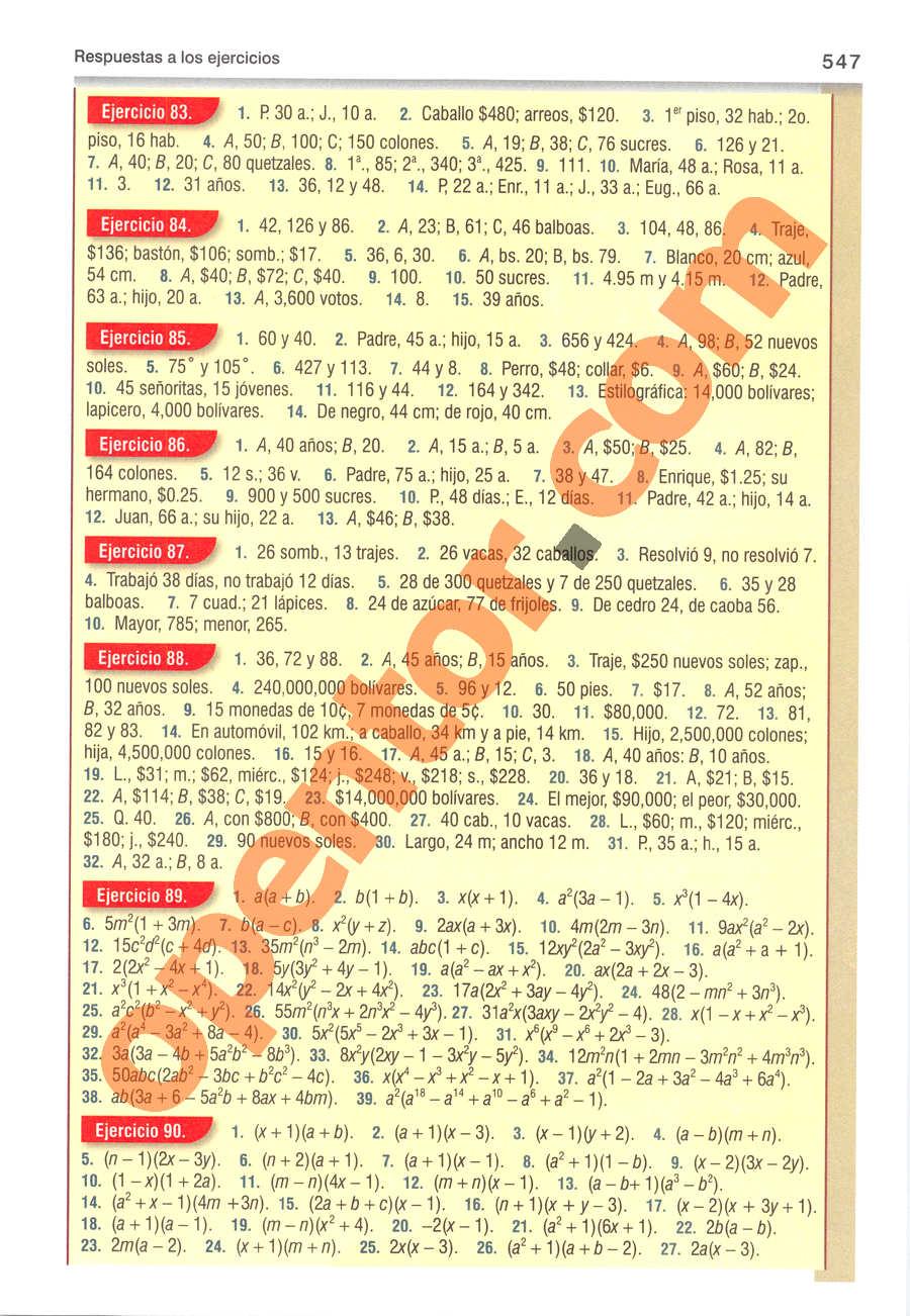 Álgebra de Baldor - Página 547
