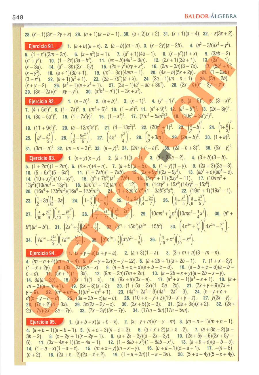 Álgebra de Baldor - Página 548