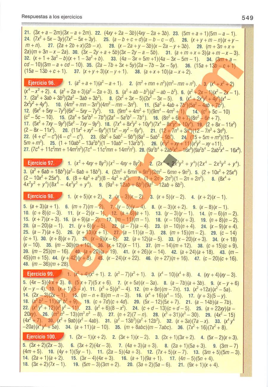 Álgebra de Baldor - Página 549