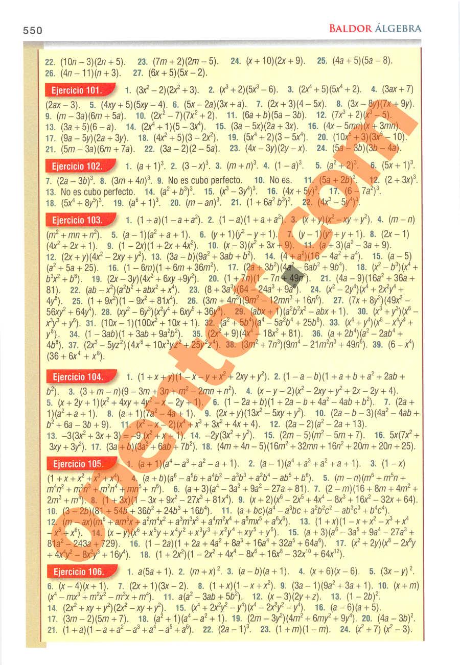 Álgebra de Baldor - Página 550