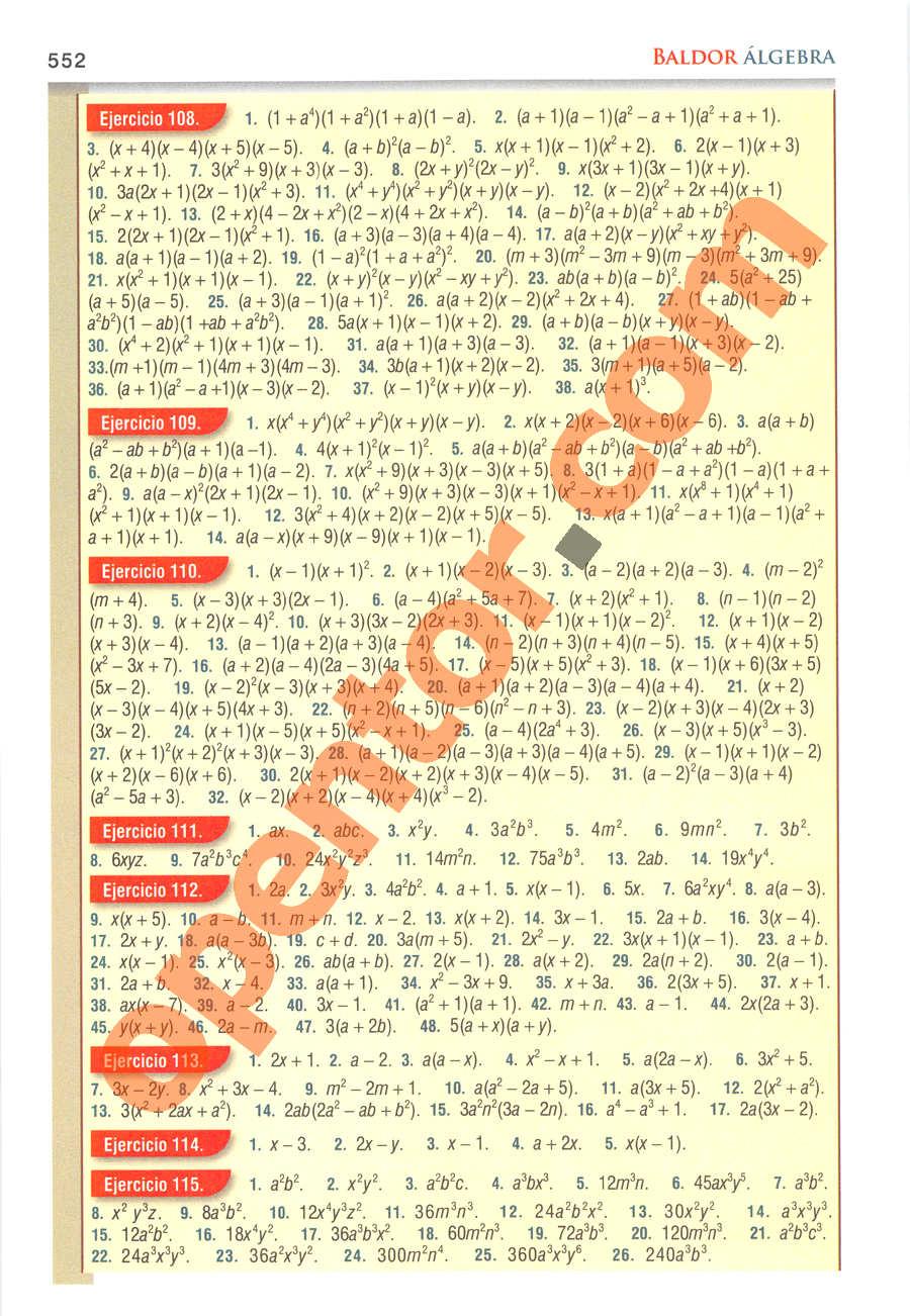 Álgebra de Baldor - Página 552