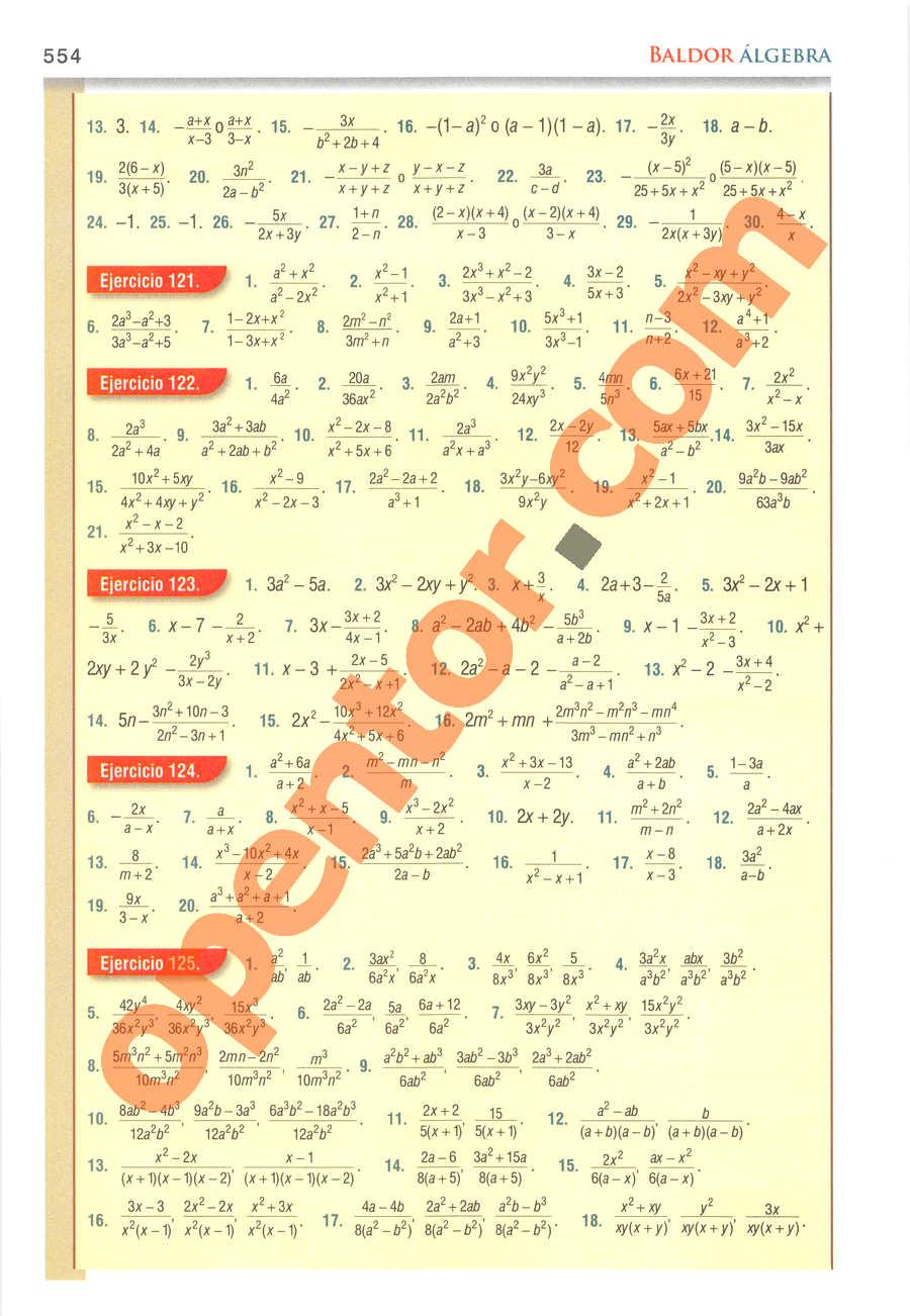 Álgebra de Baldor - Página 554
