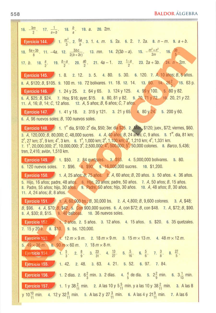 Álgebra de Baldor - Página 558