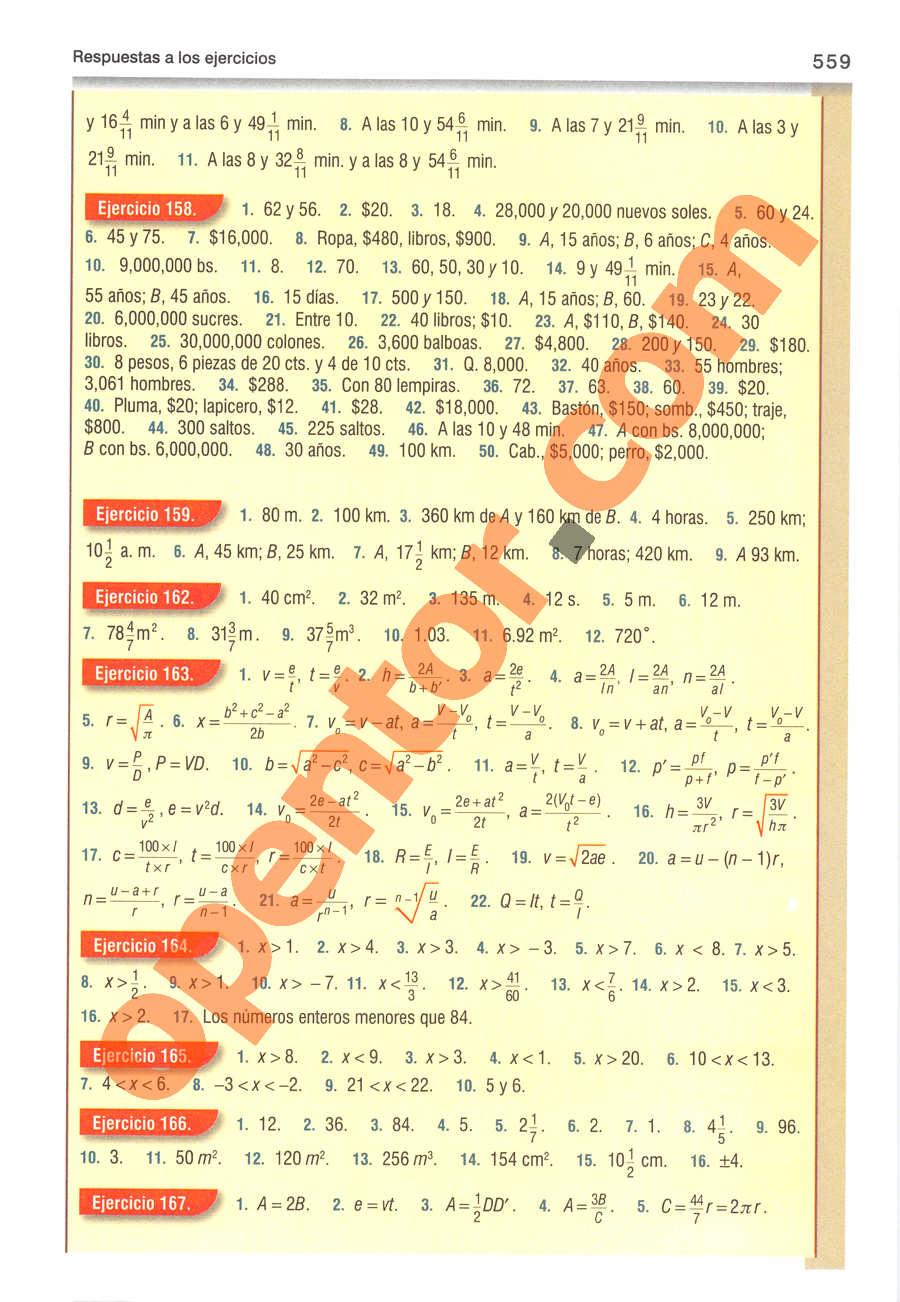 Álgebra de Baldor - Página 559