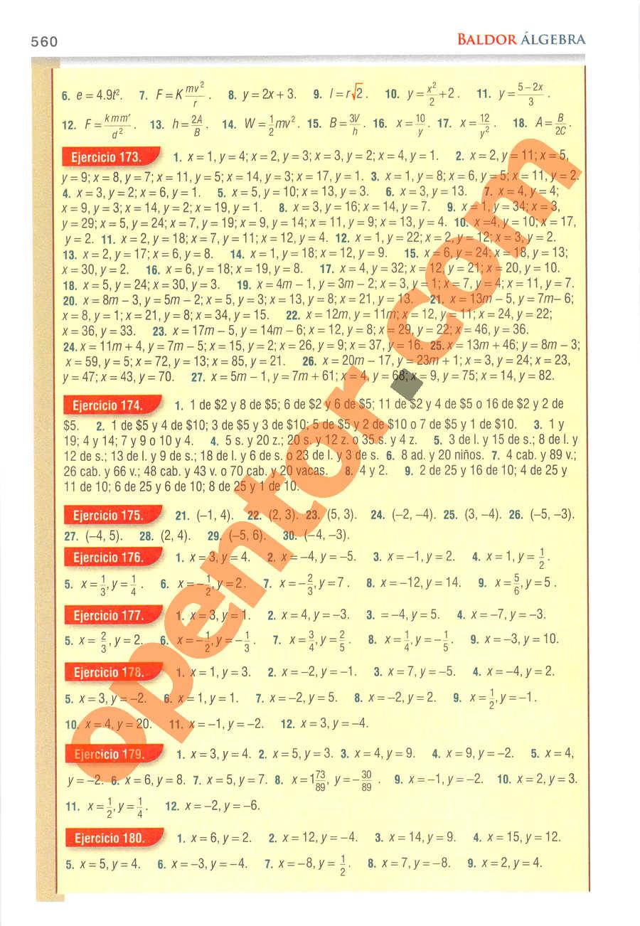 Álgebra de Baldor - Página 560