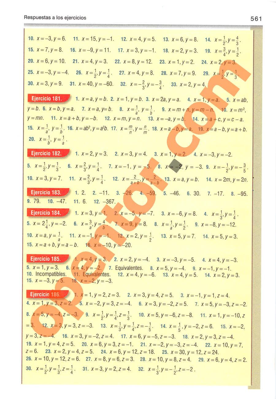 Álgebra de Baldor - Página 561