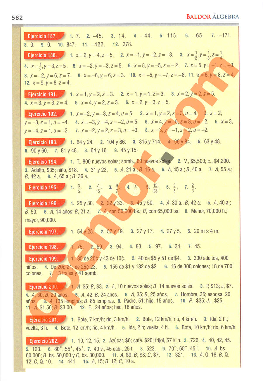 Álgebra de Baldor - Página 562