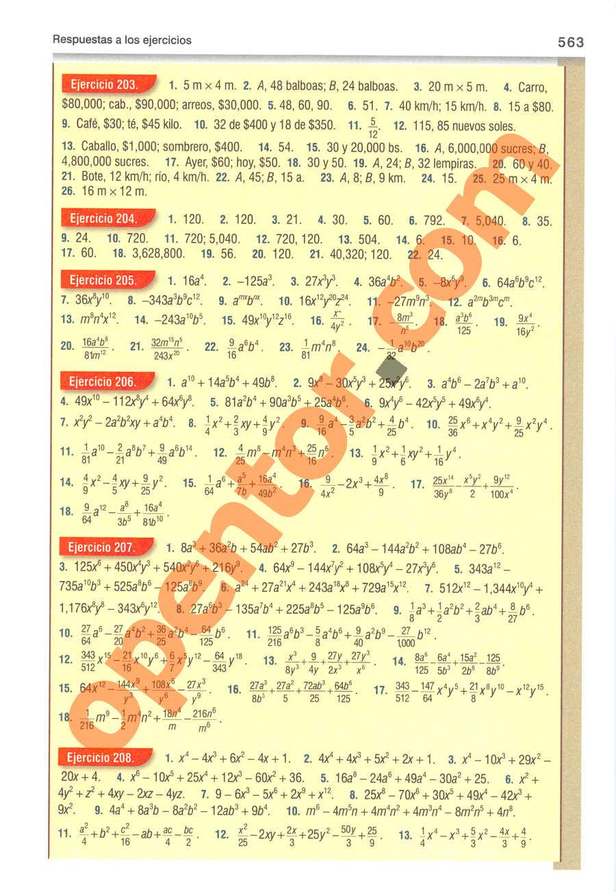 Álgebra de Baldor - Página 563