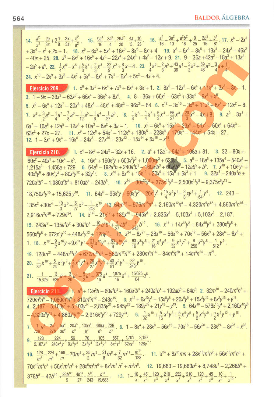Álgebra de Baldor - Página 564