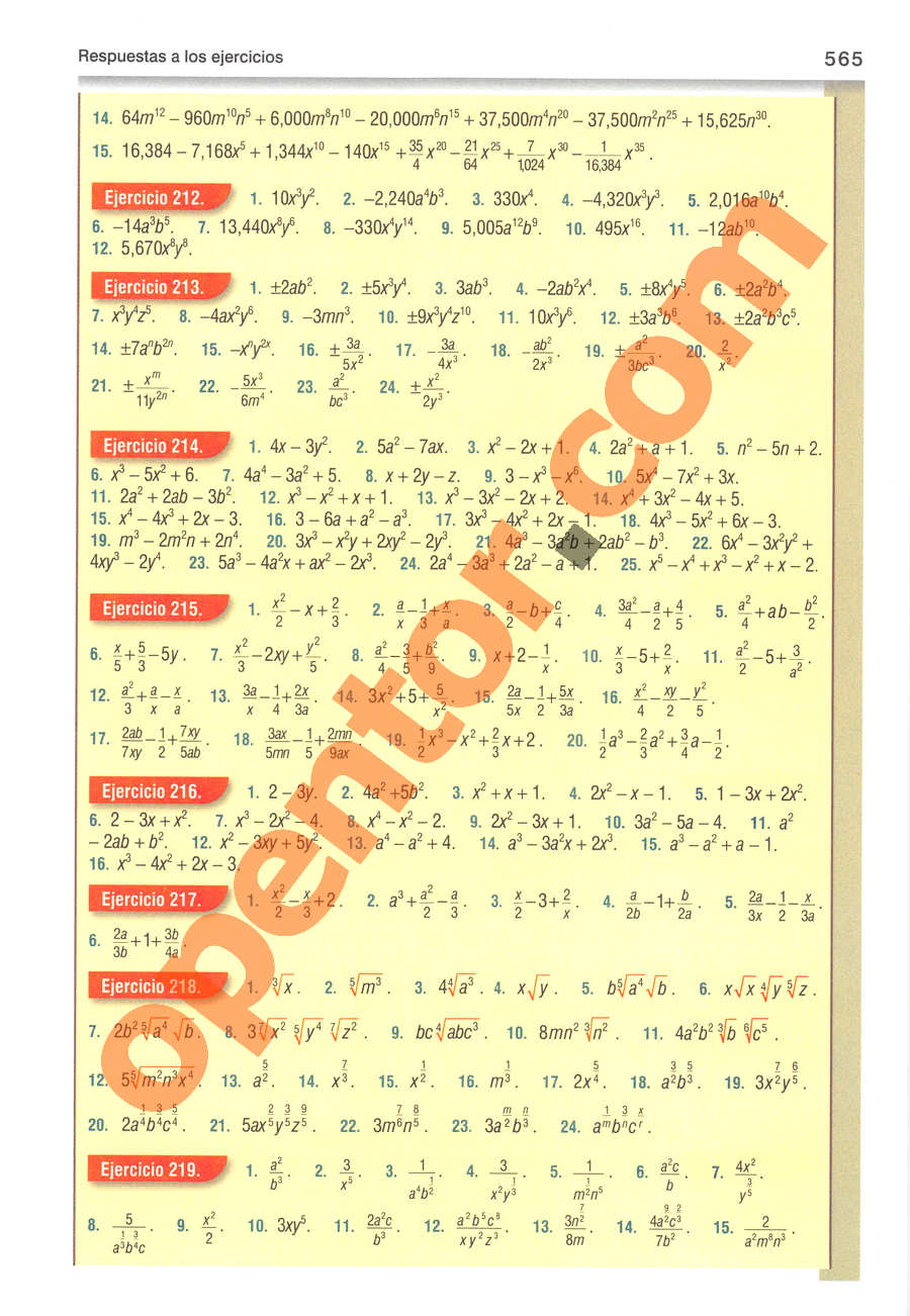 Álgebra de Baldor - Página 565