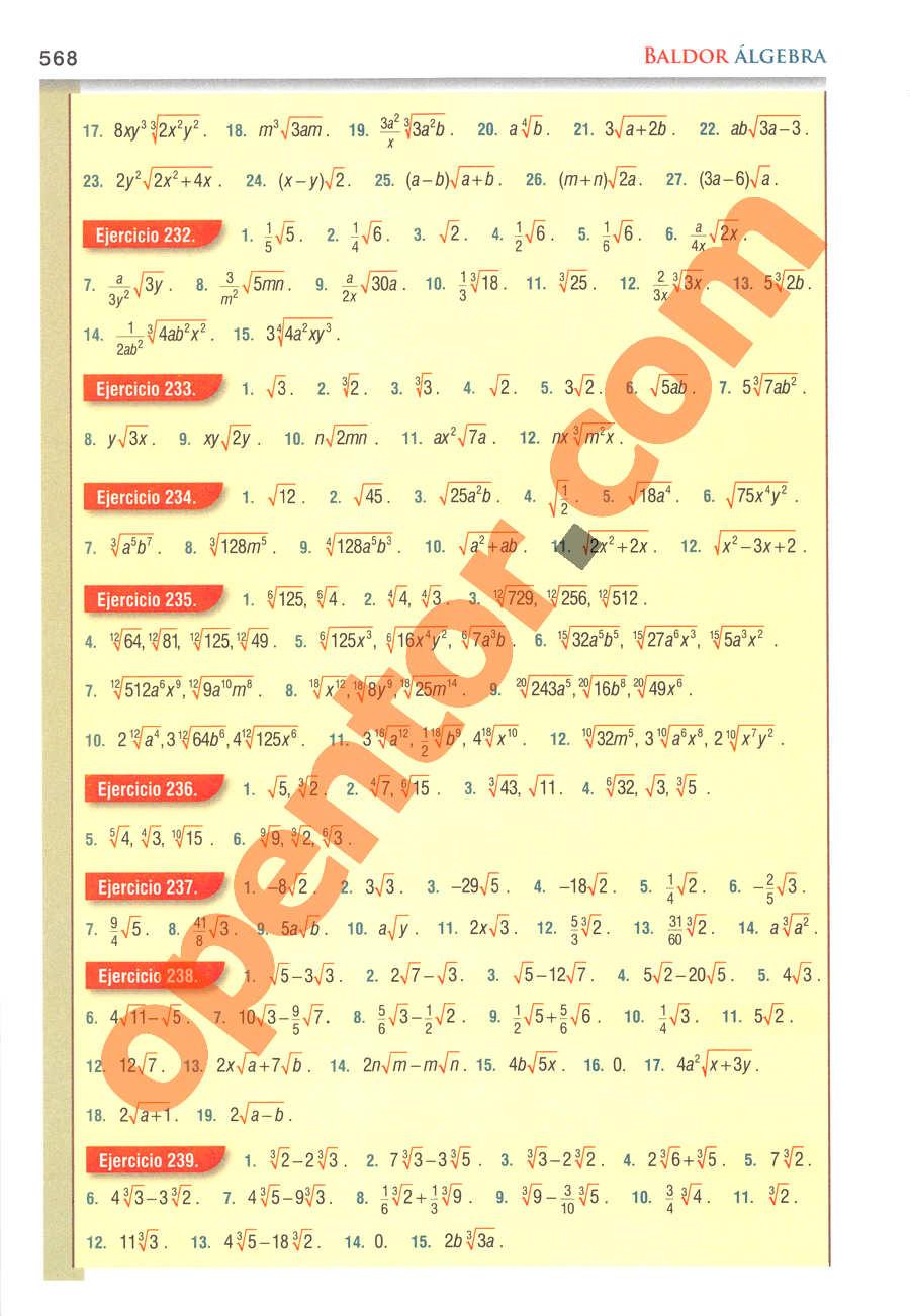 Álgebra de Baldor - Página 568
