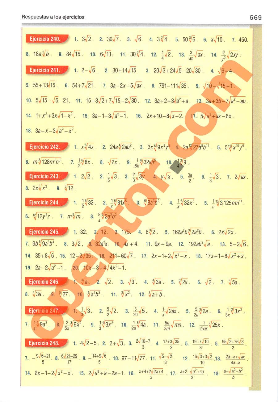 Álgebra de Baldor - Página 569
