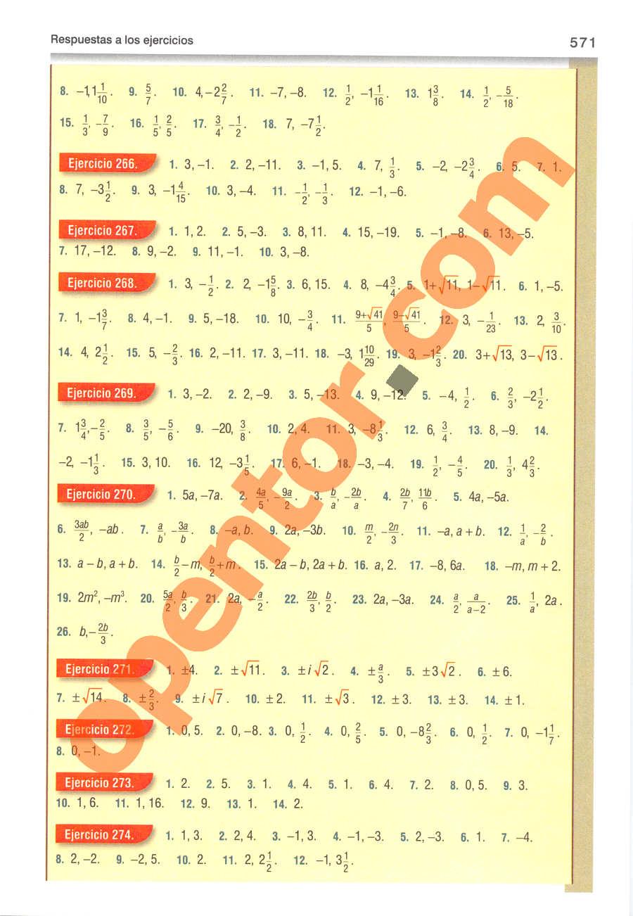 Álgebra de Baldor - Página 571
