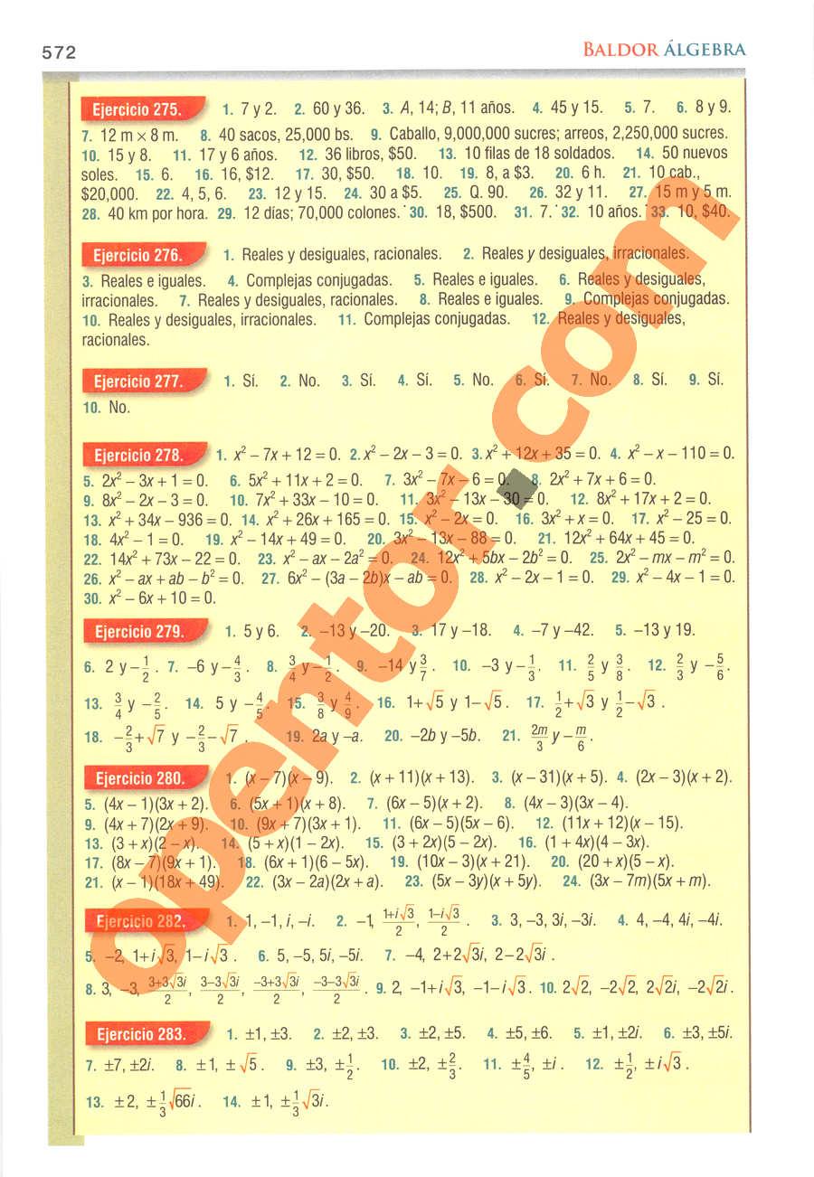 Álgebra de Baldor - Página 572