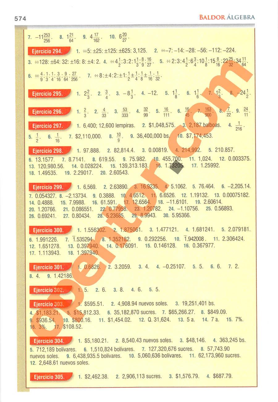 Álgebra de Baldor - Página 574