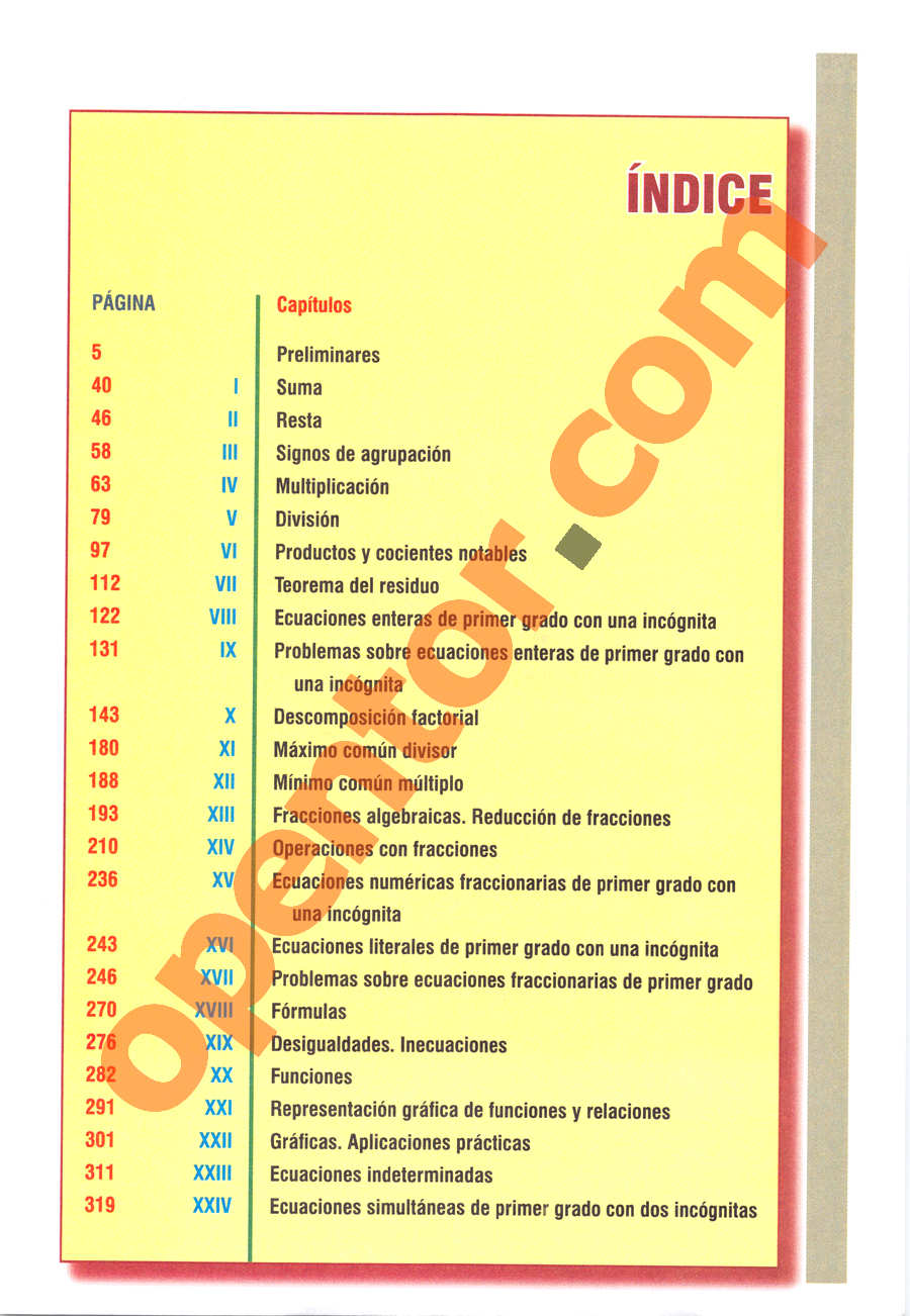 Álgebra de Baldor - Página 575