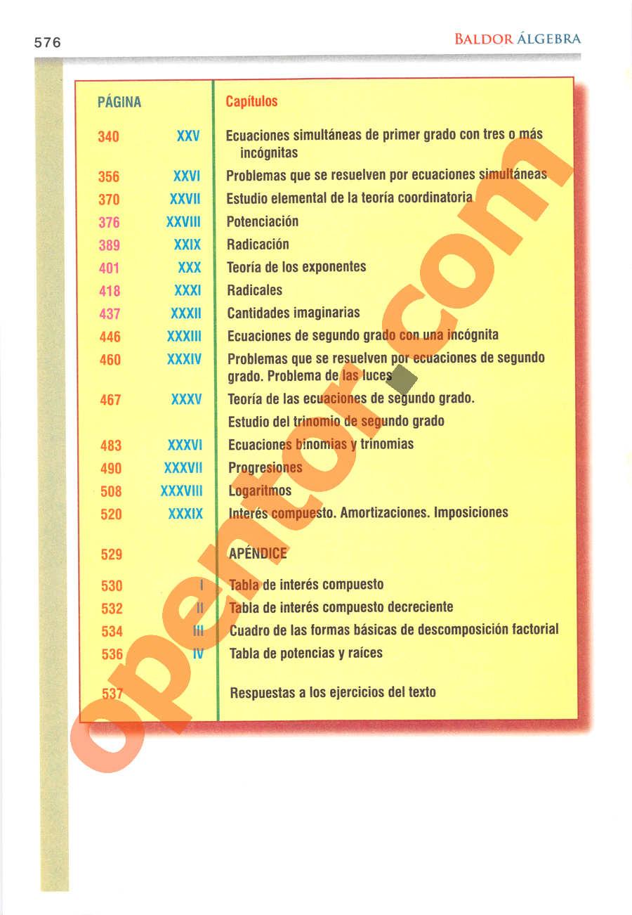 Álgebra de Baldor - Página 576