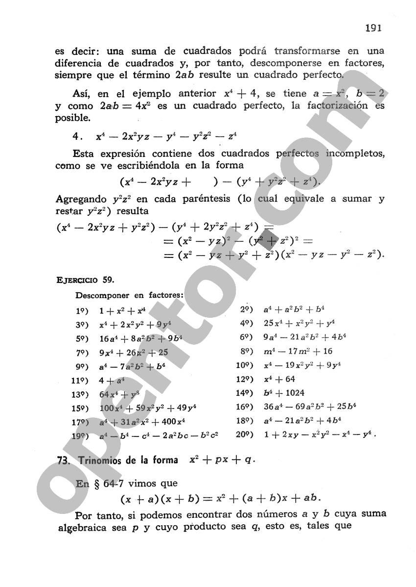 Álgebra de Mancil 1 - Página 191