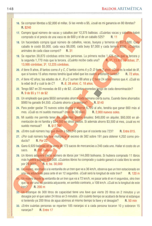 Aritmética de Baldor - Página 148