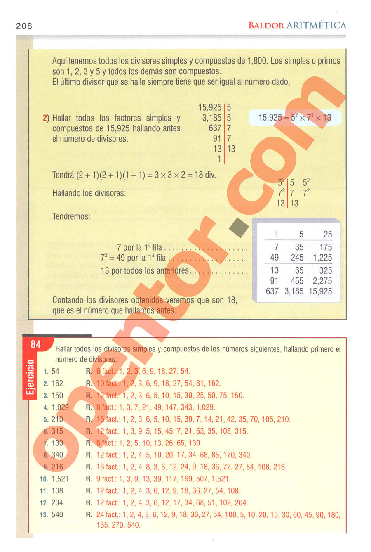 Aritmética de Baldor - Página 208