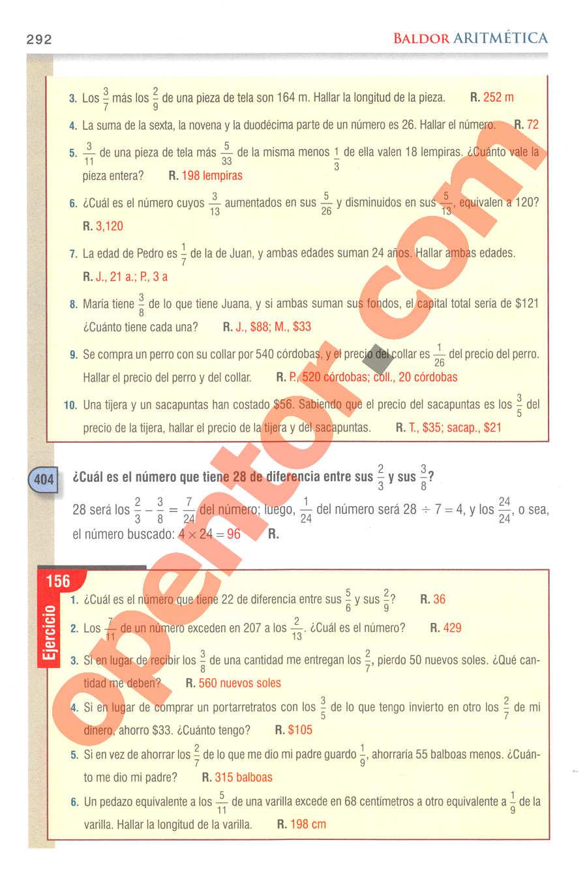 Aritmética de Baldor - Página 292