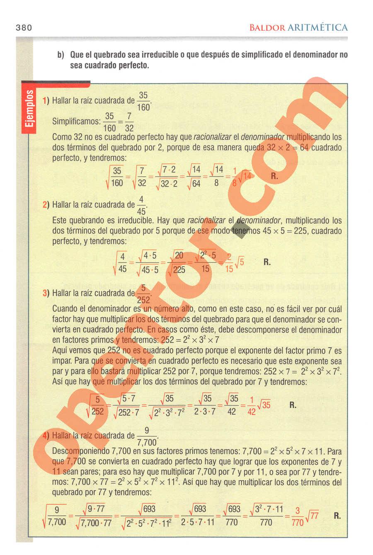Aritmética de Baldor - Página 380