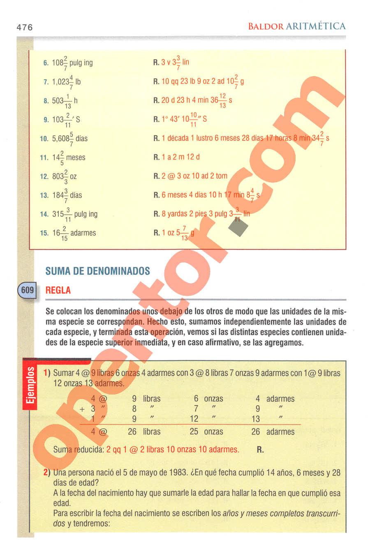 Aritmética de Baldor - Página 476