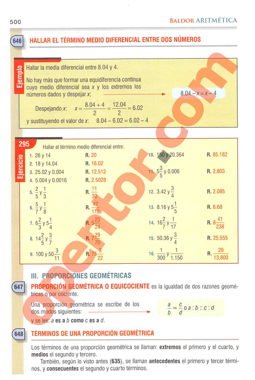 Aritmética de Baldor - Página 500