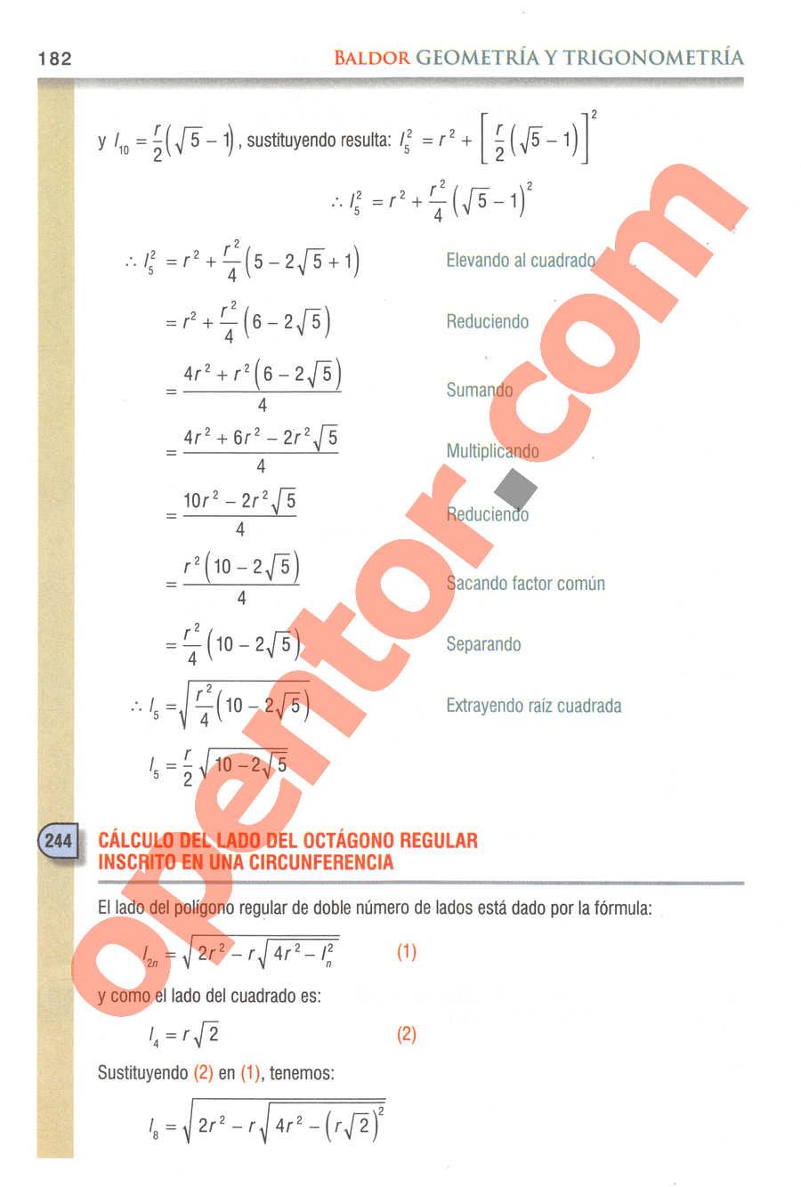 Geometría y Trigonometría de Baldor - Página 182