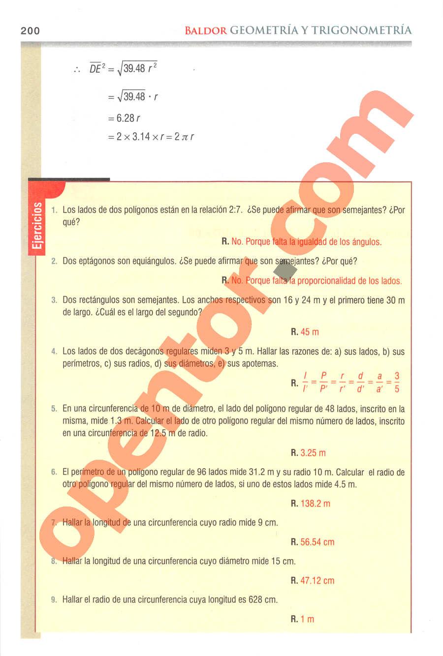 Geometría y Trigonometría de Baldor - Página 200