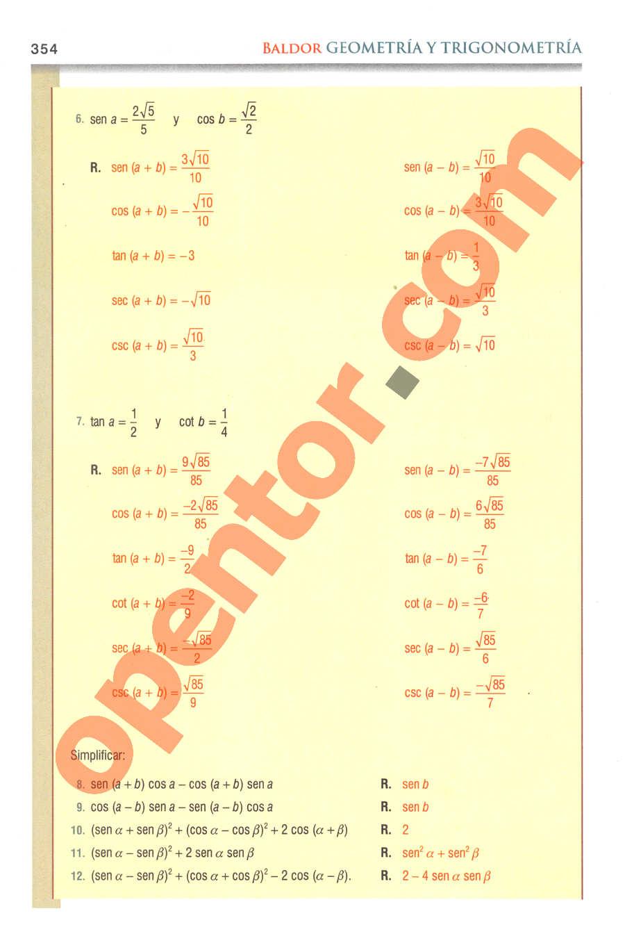 Geometría y Trigonometría de Baldor - Página 354