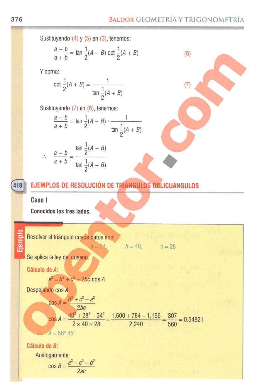 Geometría y Trigonometría de Baldor - Página 376