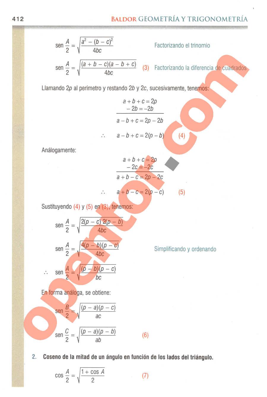 Geometría y Trigonometría de Baldor - Página 412