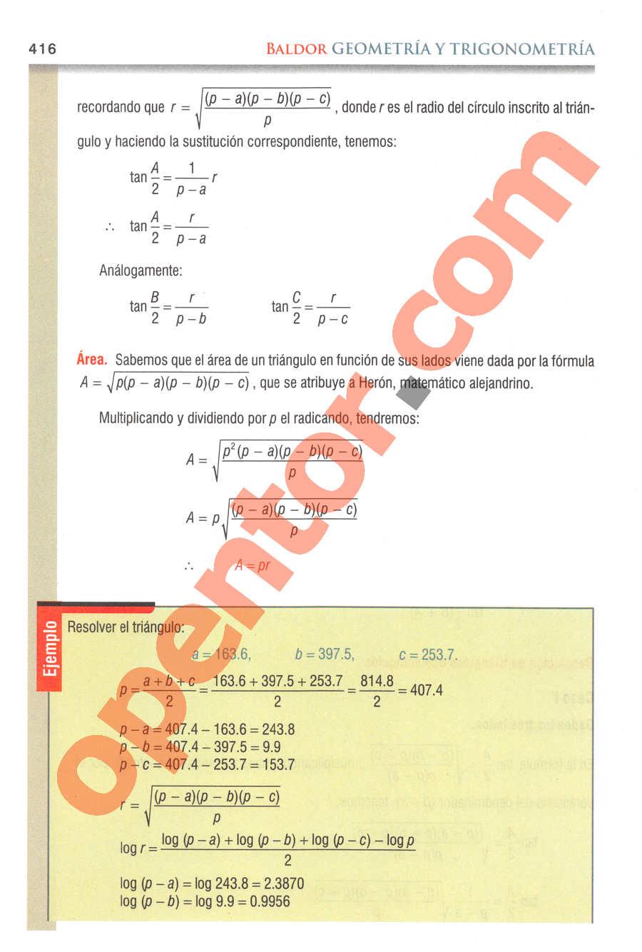 Geometría y Trigonometría de Baldor - Página 416