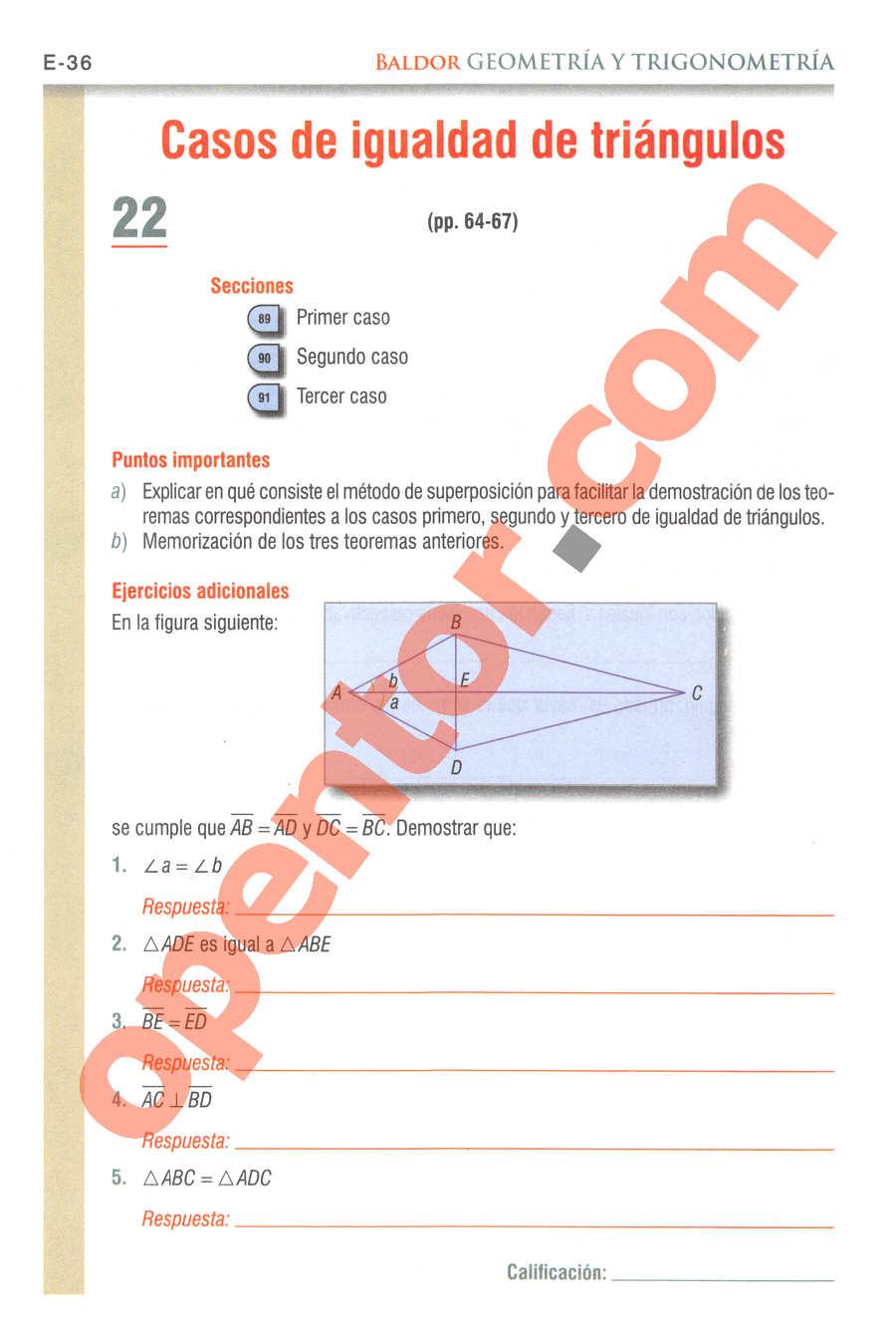 Geometría y Trigonometría de Baldor - Página E36