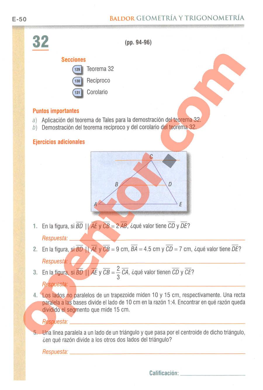 Geometría y Trigonometría de Baldor - Página E50