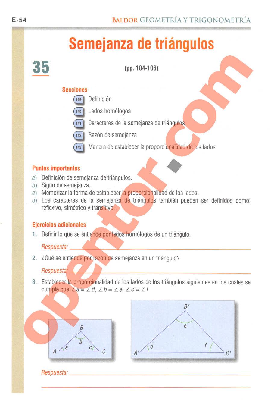 Geometría y Trigonometría de Baldor - Página E54