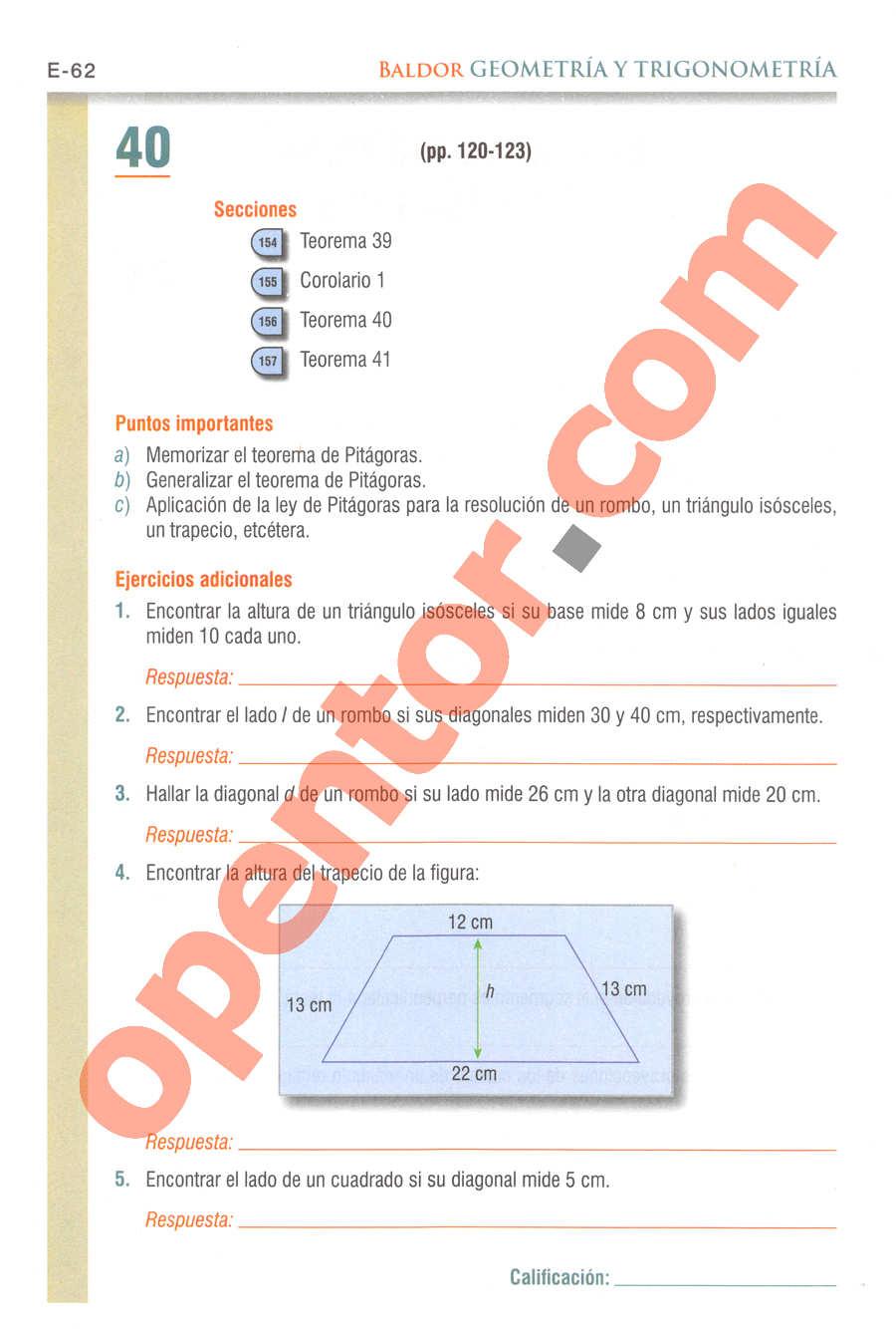 Geometría y Trigonometría de Baldor - Página E62