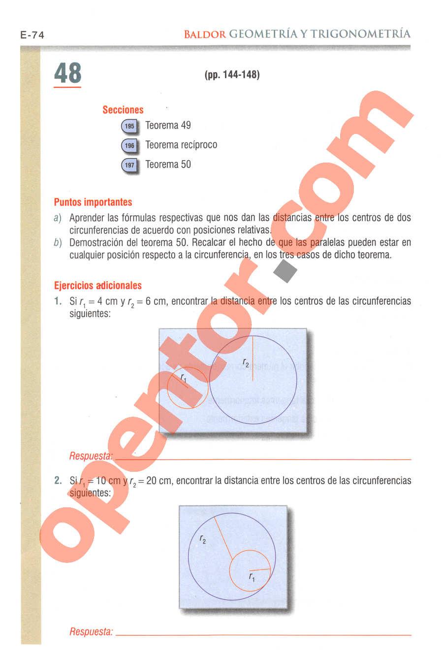 Geometría y Trigonometría de Baldor - Página E74