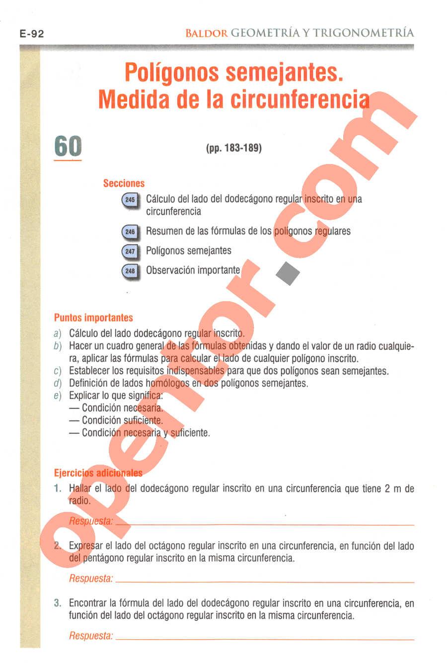 Geometría y Trigonometría de Baldor - Página E92