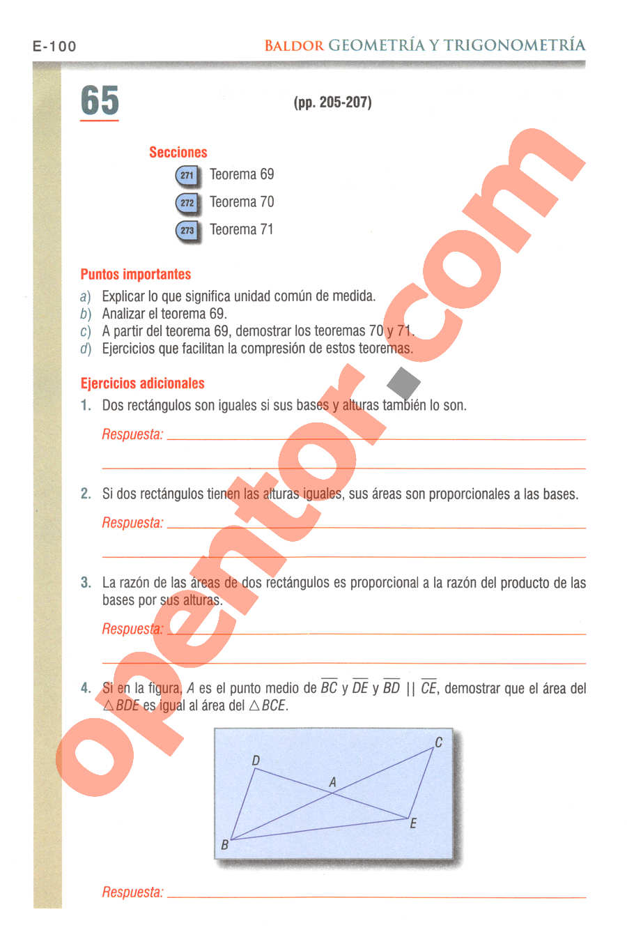 Geometría y Trigonometría de Baldor - Página E100