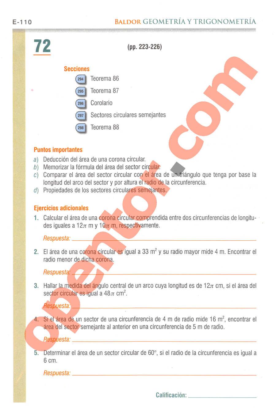 Geometría y Trigonometría de Baldor - Página E110