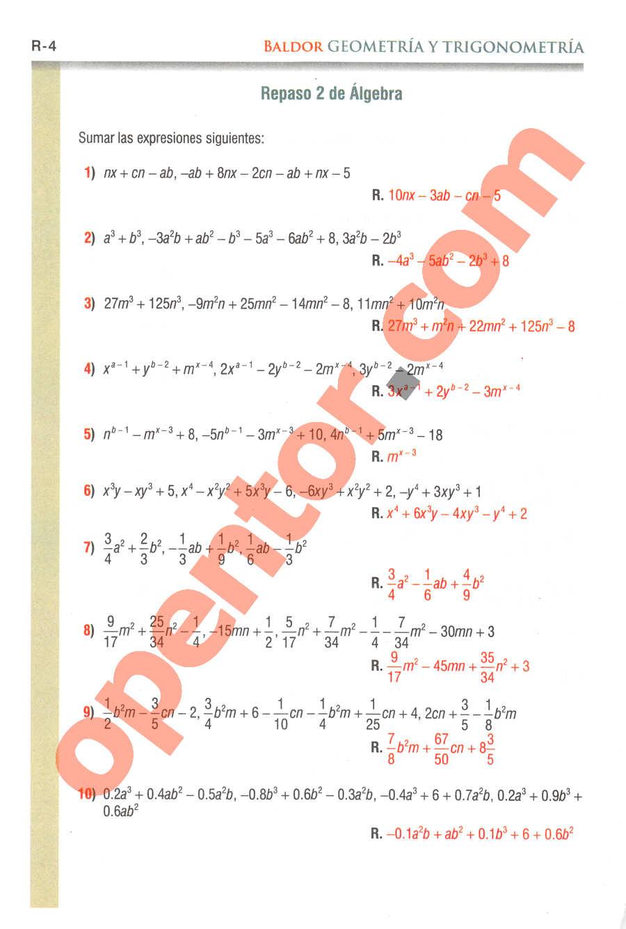 Geometría y Trigonometría de Baldor - Página R4