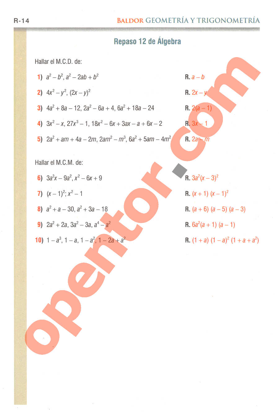 Geometría y Trigonometría de Baldor - Página R14